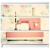 banjado Möbelaufkleber für Kinder-Zimmer   Selbstklebende Möbelfolie passend für IKEA Malm Kommode   Wandtattoo Deko mit Design Nähmaschine für 3 Schubladen