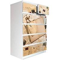 banjado Möbelaufkleber passend für IKEA Malm Kommode 6 Schubladen   Selbstklebende Möbelfolie   Sticker Tattoo perfekt für Wohnzimmer und Kinderzimmer   Klebefolie Motiv Salut de Paris