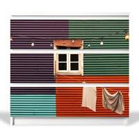 banjado YOURDEA MöbelFolie für IKEA Malm Kommode mit 3 Schubladen | Möbelaufkleber 3-teilig ca. 80x78cm | Möbelsticker Selbstklebend mit Motiv Buntes Haus