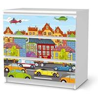 creatisto Wandtattoo Möbel für Kinder - passend für IKEA Malm Kommode 3 Schubladen I Tolle Möbelaufkleber für Kinder-Zimmer Deko I Design: City Life
