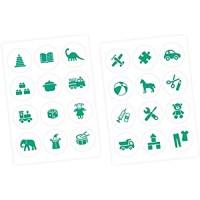 nikima Schönes für Kinder Möbelaufkleber Ordnungssticker für Spielzeug Mint/Weiss- Möbelfolie Kinderzimmer Ordnung Lernen Aufbewahrung Ordnungssystem