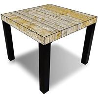 Printalio - Gelbe Holzlatten alt - Möbelaufkleber für IKEA Lack 55x55cm Beistelltisch bekleben Fotomotivaufkleber   Fotosticker Bedruckt