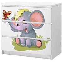 Set Möbelaufkleber für Ikea Kommode MALM 3 Fächer/Schubladen Kinderzimmer Cartoon Elefant Baby Kat2 Schmetterling süß ML3 Aufkleber Möbelfolie sticker Ohne Möbel Folie 25C2569