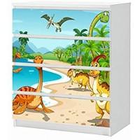 Set Möbelaufkleber für Ikea Kommode MALM 4 Fächer/Schubladen Kinderzimmer Cartoon Dino Dinos Dinosaurier Land Palmen Aufkleber Möbelfolie sticker Ohne Möbel Folie 25B1695