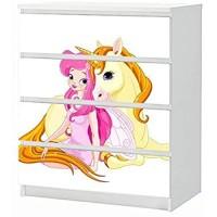 Set Möbelaufkleber für Ikea Kommode MALM 4 Fächer/Schubladen Kinderzimmer Cartoon Fee Einhorn Pferd rosa Sterne Prinzessin Aufkleber Möbelfolie sticker Ohne Möbel Folie 25B1709
