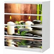 Set Möbelaufkleber für Ikea Kommode MALM 4 Fächer/Schubladen Wellness Kerze Feng Shui Steine Bambus Aufkleber Möbelfolie sticker Ohne Möbel Folie 25B1743