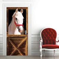 BXZGDJY Türtapete Selbstklebend Türposter - Mittelmeer - Fototapete Türfolie Poster Tapete Meer 80X200Cm Weißes Pferd