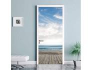 LLWYH Türaufkleber Türtapete 3D Tür Blauer Himmel Weiße Wolke Meer Küchentür PVC Wasserdichter Aufkleber Fototapete Türfolie Poster Tapete