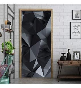 Türaufkleber PVC Wasserdichte Dreidimensionale Dreidimensionale Graue Geometrie Türtapete Wandbild Türfolie Türposter Fototapete 90 x 200 cm