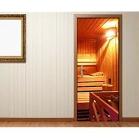 Türaufkleber Sauna Raum Spa Wellness Tür Tür Bild Türposter Türfolie Druck Aufkleber 15A2088 Türgrösse:90cmx200cm
