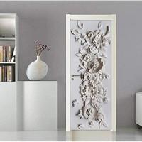 Türtapete 3D Selbstklebend Türposter Fototapete Geprägte Blumen 95cmx215cm Türfolie Poster Tapete-Türaufkleber Dekoration Tür-Wand-Papier-Wandbild Pvc-Wasserdichte