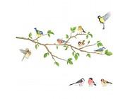 Decoball DA-1804 Vögel des Gartens auf dem Zweig des Baumes Wandaufkleber Wandsticker Wandsticker Wohnzimmer Kindergarten Schlafzimmer für Kinder