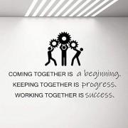Erfolg Ausrüstung Wandtattoo Teamwork Geschäft Erfolg Arbeit Inspiration Zitat Vinyl Aufkleber Tapete Büroraum Dekoration Wandbild 71X42Cm