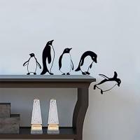 Pinguine  Springen  fliegend  komisch Vinyl Wandaufkleber Dekor Decal Mural Kitchen Haustiere