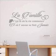 Wandtattoo Vinyl Abnehmbarer Wandaufkleber Französisch La Famille Wandtattoo Wohnzimmer Schlafzimmer Wanddekoration 88X38Cm Grau
