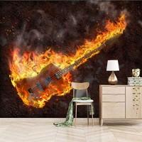 Dsromhgqi 3d tapete 336x238cm Musik Flamme Instrument Gitarre Wohnzimmer Dekoration Schlafzimmer Wandkunst Wandbild selbstklebende Tapete Wandbild Kinder Jungen Mädchen 3D Hintergrund