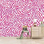 Dsromhgqi 3d tapete 450x300cm Pink Zebramuster Mode Wohnzimmer Dekoration Schlafzimmer Wandkunst Wandbild selbstklebende Tapete Wandbild Kinder Jungen Mädchen 3D Hintergrund