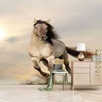 Dsromhgqi tv hintergrundtapete 250x175cm Grau Tier Laufen Pferd Wanddekoration Schlafzimmer Kinderzimmer Wand Wand selbstklebende HD Wallpaper Bilder 3D-TV Hintergrundwand