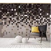 Fototapete 3D Effekt Geometrisches Mosaikquadrat Fototapete Vlies Tapete Bilder Wand Wanddeko Dekoration 300x210cm