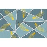 Fototapete 3D Effekt Tapete Blaues Geometrisches Muster Der Goldenen Federkunst Fototapete Vliestapete Tapeten Wandtapete Wanddeko Wandbilder 250x175cm