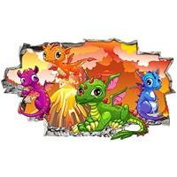 WYHXYZ 3D Look Wandtattoo Baby Drachen Vulkan Jungen Wandaufkleber Schlafzimmer Mädchen Jungen Wohnzimmer