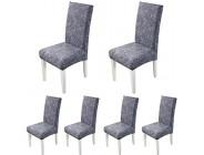 ARNTY Stuhlhussen 4er 6er Set Stretch Stuhl Bezug Esszimmer Universal Moderne Elastische Hussen für Stühle für Esszimmer Party Hotel Restaurant Deko Grau-Modern 6 Stück