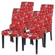 NIBESSER 2/4/6 Stück Stuhlhussen Weihnachten Stretch Stuhlbezug elastische Moderne Husse Dekoration Stuhlüberzug für Universelle Passform Weihnachten-rot2 4er Set