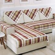 DSAQAO Four Seasons universal Sofa baumwollbezug Anti-rutsch Streifen Plaid Couch-schutzhülle Sofa Protector-C 110x210cm43x83inch