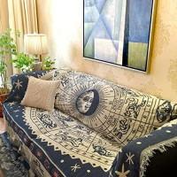 QINQIN Amerikanische Anti-rutsch Sofabezug Baumwoll-Vier Jahreszeiten staubdicht Sofa-Überwürfe Sofa-Handtuch für Wohnzimmer -A 230x250cm91x98inch