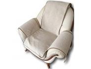 Alpenwolle Sesselschoner in Wellenoptik beige mit Taschen 100% Wolle Sesselauflage Sesselüberwurf Sitzauflage Überwurf