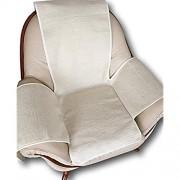 Alpenwolle Sesselschoner Naturweiß Wellenoptik mit Taschen 100% Wolle Sesselauflage Überwurf Sesselüberwurf Sitzauflage