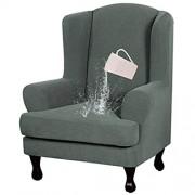 HALOUK Wasserdicht Sesselschoner 2 Stück Stretch Ohrensessel Sesselüberwurf Sofabezug Sesselbezug Spandex Jacquard Gewebe Elastische Antirutsch Möbelschutz für Wohnzimmer Sessel-J