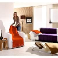 Hochwertiger Sessel-Überwurf / Sesselschoner 50/200 mit Fransen natur