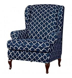 Jubang Ohrensessel Husse Ohrensessel Schonbezug Jacquard Elastische Sofaüberwurf Schutzhülle Strecken Sesselüberwurf Sesselhusse für Ohrenbackensessel Navy blau