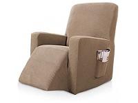 KYJSW Sesselbezug Stretch Sesselüberwürfe Sesselschoner Für Relaxsessel Elastisch Bezug Für Fernsehsessel Liege Sessel Tartan Liegestuhl Abdeckung Sandfarbe
