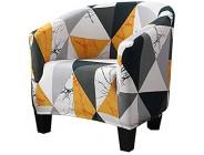 Shujin Sesselüberwürfe Sesselschoner Blumen Drucken Sesselhusse Sesselbezug Stretch Couchüberwurf Elastisch Stretch Husse für Cafe Stuhl Sessel