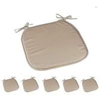 Cepewa 6er Set Sitzauflage Basic mit Haltebändern ca. 35 x 35 cm Quadratische Stuhlauflage Sitzkissen Sitzpolster 1 x 6er Set Sitzauflage beige