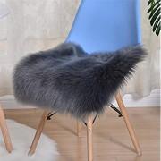Hava Kolari Lammfell Faux Schaffell Sitzkissen Flauschige Langes Haar Sitzauflage Stuhlauflage Dunkelgrau 45 * 45 cm