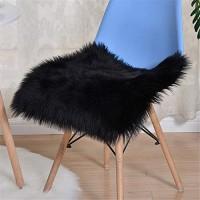Nicole Knupfer Sitzkissen Plüsch Kunstfell Plüsch Sitzauflage Lammfell Stuhlkissen Schaffell Stuhlauflage Plüschmatte Schwarz 50 * 50cm