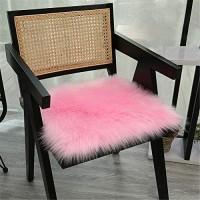 RAILONCH Kunstfell Plüsch Sitzkissen Flauschige Sitzauflage Stuhlhussen Bürostuhlkissen Schülermatte Sofa Matte Rosa 45×45cm