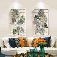 Amerikanischen Schmiedeeisen Hause Wand Hängen Green Leaf Handwerk Wandbild Dekoration Hotel Wohnzimmer 3D Stereo Wand Aufkleber Ornament Wandaufkleber