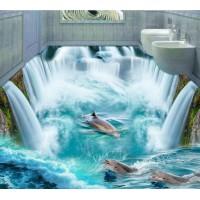 Freies verschiffen 3D Benutzerdefinierte Wand Aufkleber dophins in riesige waterall bodenbelag Malerei Foto Tapete für Wände wohnkultur wandbild post custom wall stickers wall stickerwall stickers custom