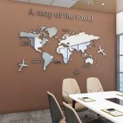 Yooap Lager Welt Karte 3D Acryl Wand Aufkleber Kristall Spiegel Aufkleber für Büro Sofa TV Hintergrund Wand Dekorative Aufkleber Wandaufkleber