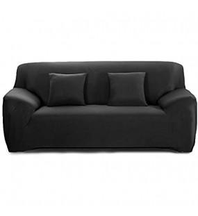 Cornasee Elastischer Sofabezug 3 Sitzer Sofa-Überwürfe Sofahusse Couchhusse Spannbezug für Sofa mit Armlehne Schwarz