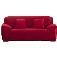 Cornasee Elastischer Sofabezug 3 Sitzer Sofa-Überwürfe Sofahusse Couchhusse Spannbezug für Sofa mit Armlehne Rot
