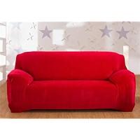 Interestmaker Dicke Elastischer Sofabezug Sofa-Überwürfe 1/2/3/4-Sitz-Überwurf aus SAMT Rot 3 Seater:195-230cm