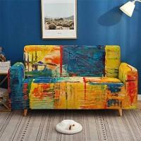 Morbuy Vintage Graffiti Sofabezug Sofaüberwürfe für 1/2/3/4 Sitzer Armlehnen L-Form Sofa Elastische Stretch Antirutsch Farbecht + klebriges Rollengeschenk Grün Gelb 3 Sitzer