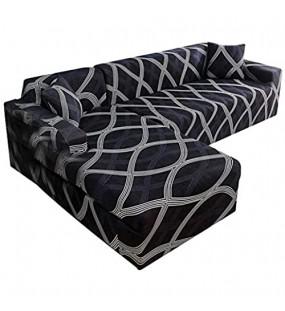 perfecti Sofabezug Elastische Sofaüberwürfe Für L-Form Sofa Anti-Rutsch Stretch Sofabezug Universal Ecksofa Überzüge 2 Sitzer+2 Sitzer