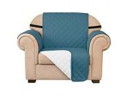 subrtex Gesteppt Sofabezug Reversibel Möbelschutz mit Gummiband Stuhlüberzüge für Wohnzimmer Sessel Schonbezüge Möbelschoner für Sofas 1 Sitzer Blau