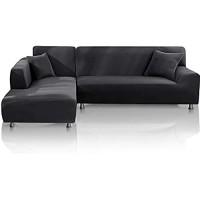 TOPOWN sofabezug l Form wasserdicht Sofa überzug l Form elastisch Couch überzug l Form 3 Sitzer + 3 Sitzer mit 2 Stücke Mit 2 freien Kissenbezügen Dunkelgrau